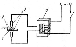 схема точечной контактной сварки