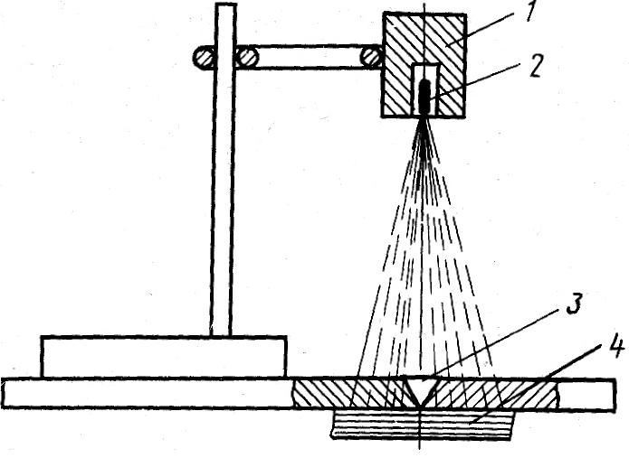 Схема просвечивания сварочного шва гамма-лучами