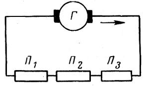 Схема последовательного соединения потребителей электрического тока