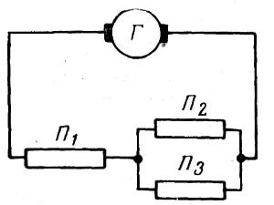 Схема смешанного соединения потребителей электрической цепи